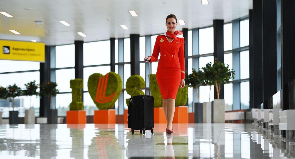 Aeroflot's flight attendant Anastasia Belousova at Sheremetyevo Airport