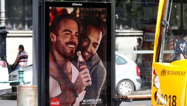 A billboard, part of a campaign by Coca-Cola promoting gay acceptance, which has prompted a political backlash is seen in Budapest, Hungary, August 5, 2019 - Sputnik International