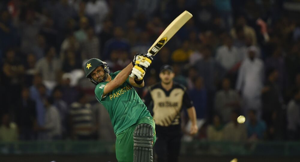 Pakistan's captain Shahid Afridi bats during the World T20 cricket match between New Zealand and Pakistan at the Punjab Cricket Stadium Association Stadium in Mohali on March 22, 2016.