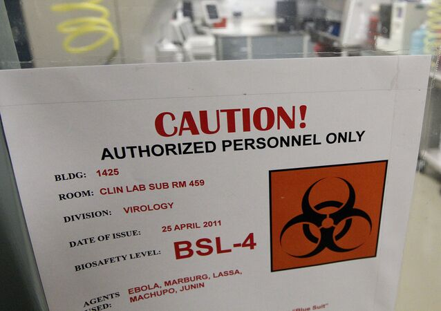 A sign on the door of a Biosafety Level 4 laboratory at the U.S. Army Medical Research Institute of Infectious Diseases in Fort Detrick, Md., Wednesday, 10 August 2011.