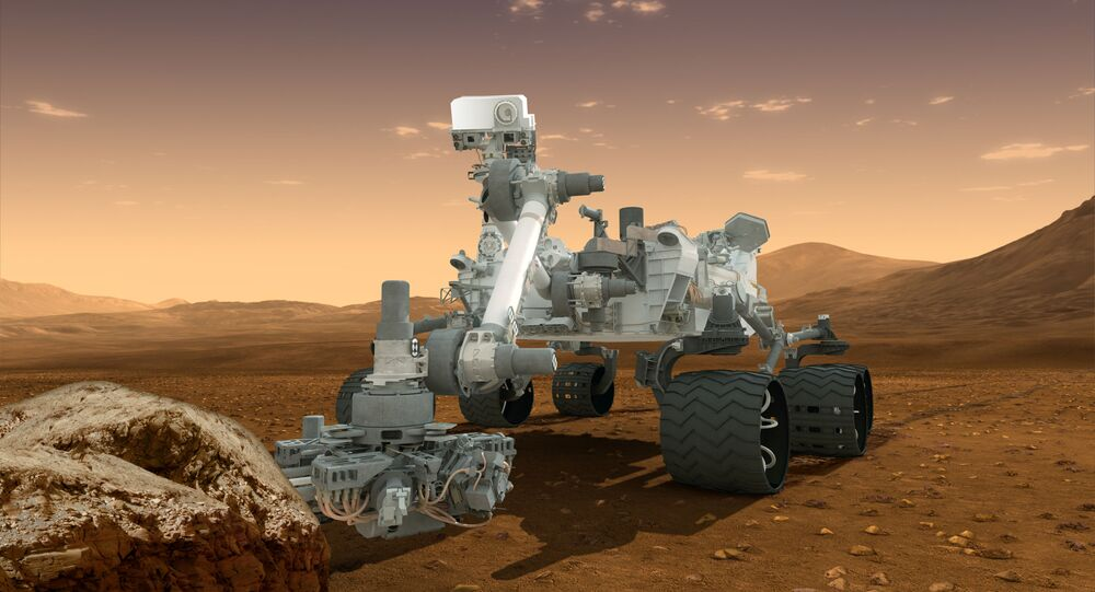 This artist's concept features NASA's Mars Science Laboratory Curiosity rover, a mobile robot for investigating Mars' past or present ability to sustain microbial life. Curiosity landed near the Martian equator about 10:31 p.m., Aug. 5 PDT