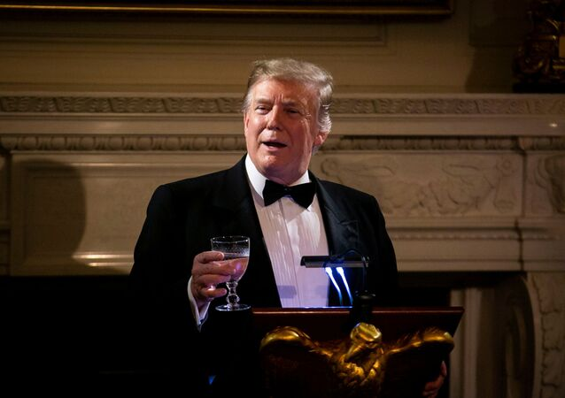 U.S. President Donald Trump speaks on U.S. and China trade negotiations at the Governors' Ball, in the State Dining Room of the White House, in Washington, U.S., February 24, 2019