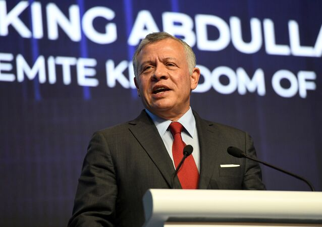 Jordan's King Abdullah speaks at the International Conference on Cohesive Societies (ICCS) in Singapore on June 20, 2019.
