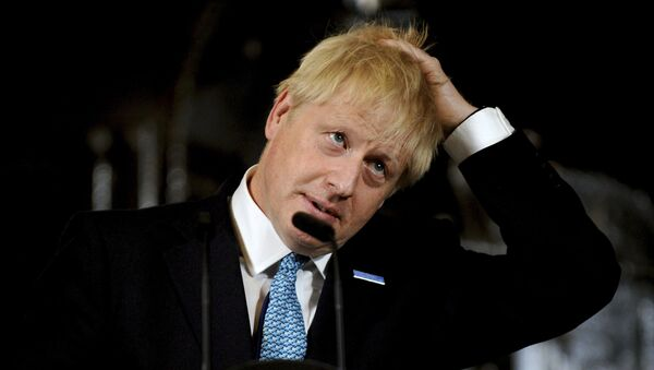 Britain's Prime Minister Boris Johnson gestures as he gives a speech on domestic priorities at the Science and Industry Museum in Manchester, northwest England on July 27, 2019.  - Sputnik International
