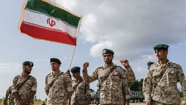 Iranian servicemen react at the first stage of the international competition for professional training Marine landing 2019 at the Khmelevka firing ground on the Baltic Sea coast in Kaliningrad Region, Russia. - Sputnik International
