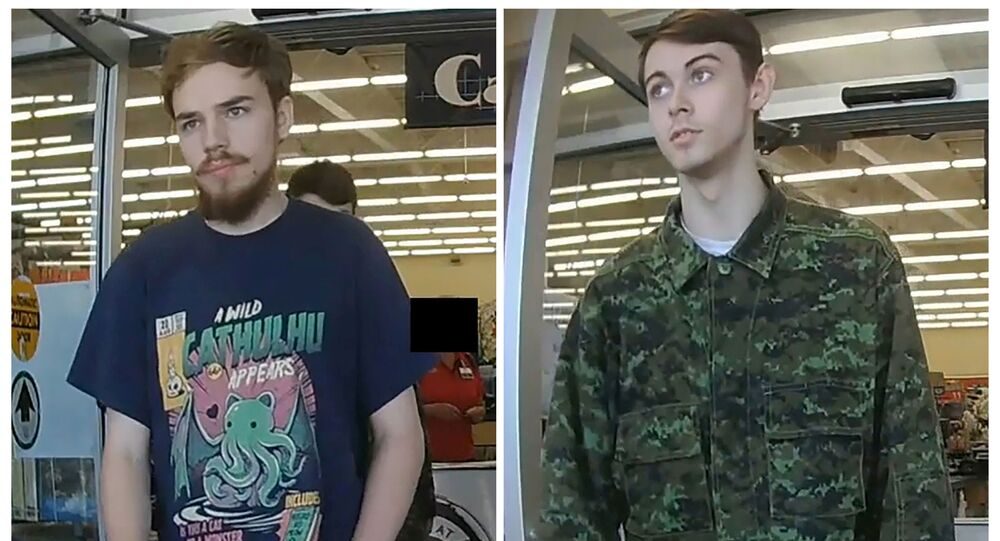 FILE PHOTO: Kam McLeod, 19 and Bryer Schmegelsky, 18, suspects in the murder of an Australian tourist and his American girlfriend in northern British Columbia, and charged with the second-degree murder of Leonard Dyck, are seen in a combination of still images from undated CCTV taken in Meadow Lake, Saskatchewan and released by the Royal Canadian Mounted Police (RCMP) July 26, 2019.