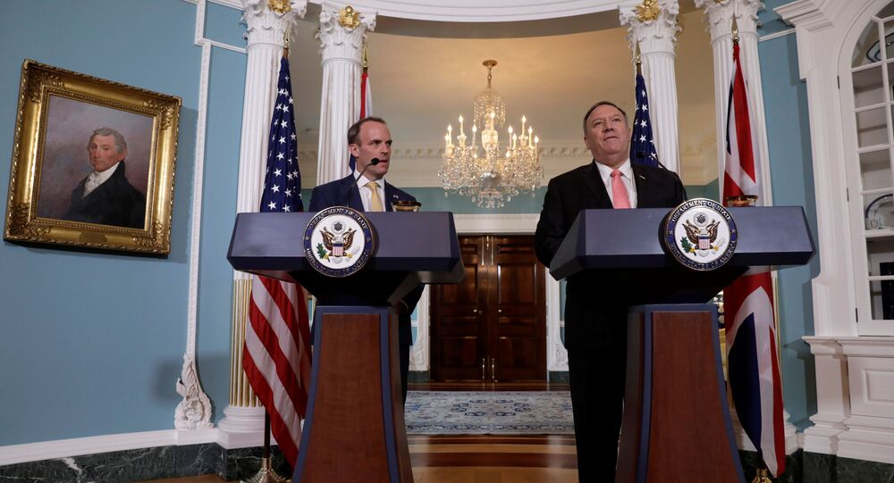 U.S. Secretary of State Mike Pompeo (R) and Britain's Foreign Secretary Dominic Raab hold a joint news conference after a working luncheon at the State Department in Washington, US, 7 August 2019