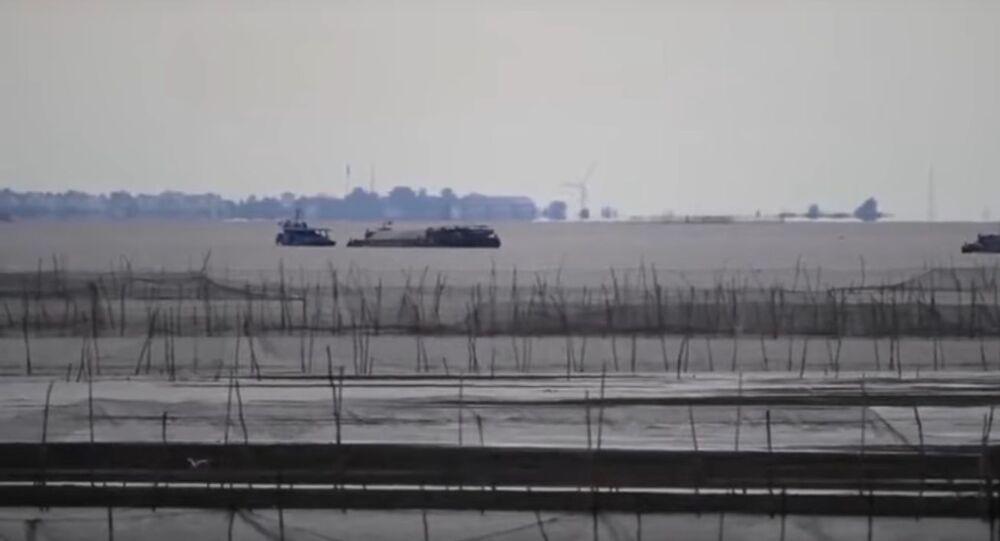 A mirage appeared on Hongze Lake in E China's Jiangsu