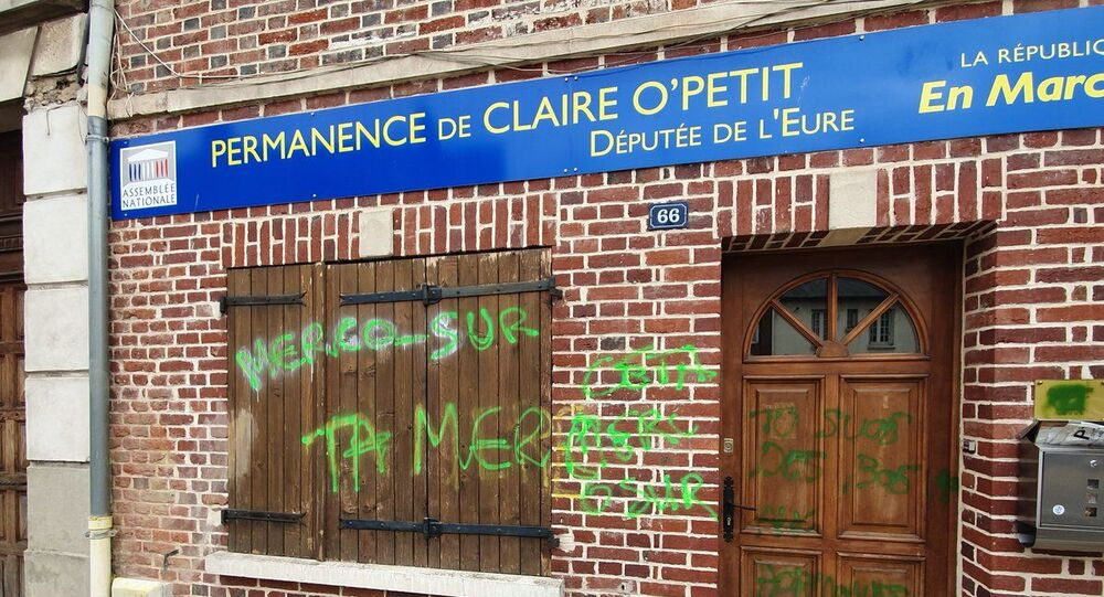 The Etrepagny office of LREM lawmaker Claire O'Petit vandalised
