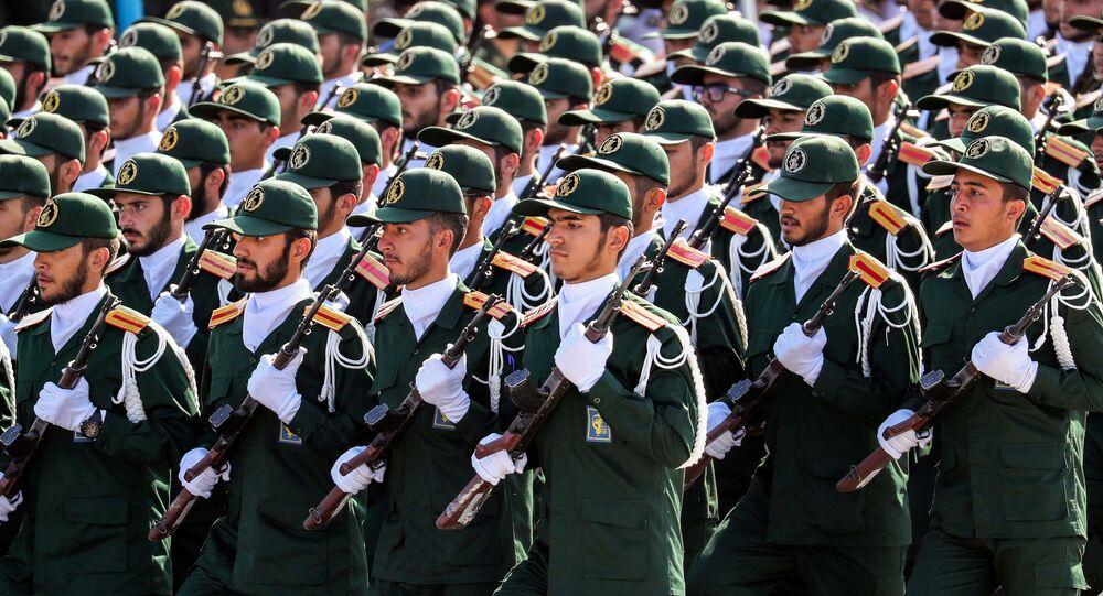 Members of Iran's Revolutionary Guards Corps (IRGC) march during the annual military parade marking the anniversary of the outbreak of the devastating 1980-1988 war with Saddam Hussein's Iraq, in the capital Tehran on September 22, 2018.