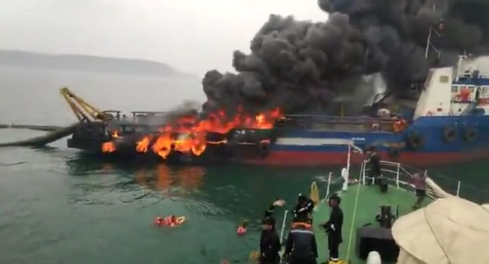 Visakhapatnam: At 11:30 am today, 29 crew members of Offshore Support Vessel Coastal Jaguar jumped into water after a fire engulfed the vessel. 28 rescued by Indian Coast Guard