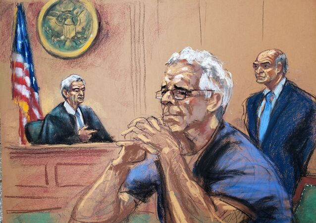 US financier Jeffrey Epstein looks on near his lawyer Martin Weinberg and Judge Richard Berman during a status hearing in his sex trafficking case, in this court sketch in New York, U.S., July 31, 2019