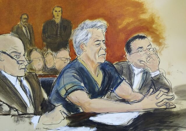 In this courtroom artist's sketch, defendant Jeffrey Epstein, centre, sits with attorneys Martin Weinberg, left, and Marc Fernich during his arraignment in a New York federal court on Monday, 8 July 2019. Epstein pleaded not guilty to federal sex-trafficking charges. The 66-year-old was accused of creating and maintaining a network that allowed him to sexually exploit and abuse dozens of underage girls between 2002 and 2005.