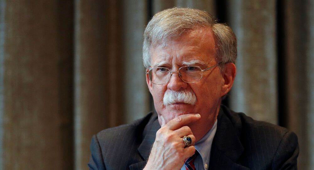 US National Security Advisor, John Bolton, meets with journalists during a visit to London, Britain August 12, 2019.