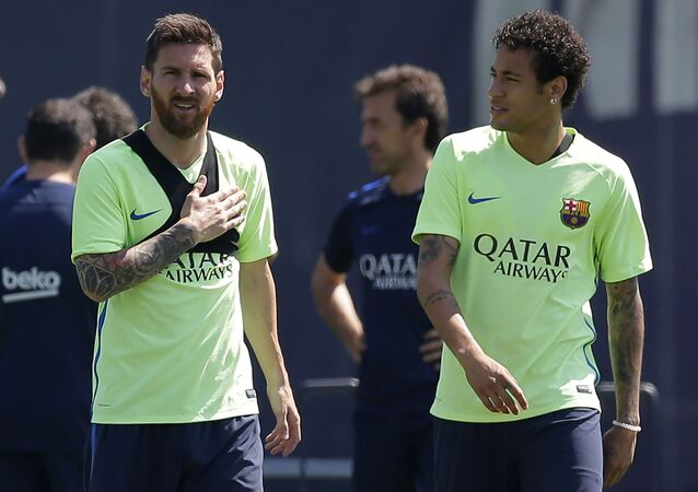 FC Barcelona's Lionel Messi, left, and Neymar attend a training session at the Sports Center FC Barcelona Joan Gamper in Sant Joan Despi, Spain, Friday, May 26, 2017. FC Barcelona will play against Alaves in the Spanish Copa del Rey soccer final on Saturday May 27.