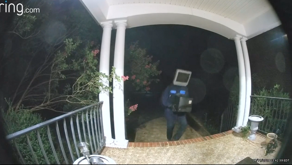 Individual wearing a TV set as a mask/helmet delivered televisions to people's front doors in Virginia - Sputnik International