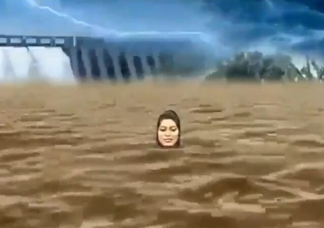 "An Indian television anchor's  ""drowning "" act has amused Twitter users, instead of relaying the direness of the flood situation in the southern state of Karnataka."
