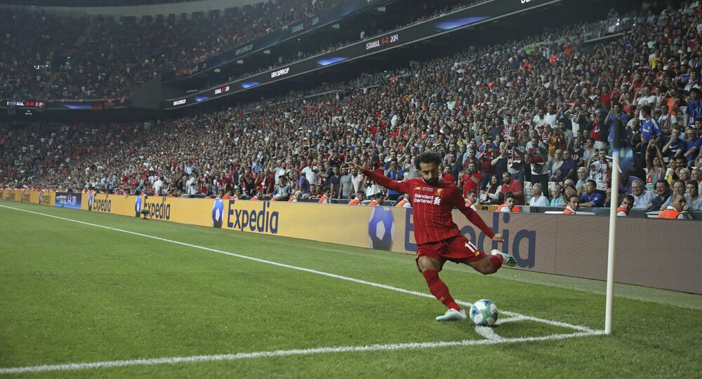 Liverpool's Mohamed Salah takes a corner during the UEFA Super Cup soccer match between Liverpool and Chelsea