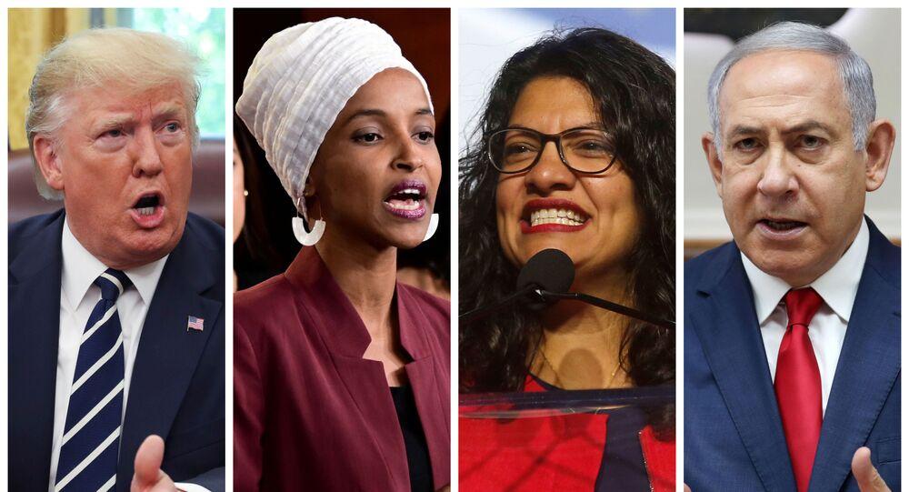 U.S. President Donald Trump, U.S. Congresswomen Ilhan Omar, Rashida Tlaib, and Prime Minister Benjamin Netanyahu are seen in a combination from file photos.