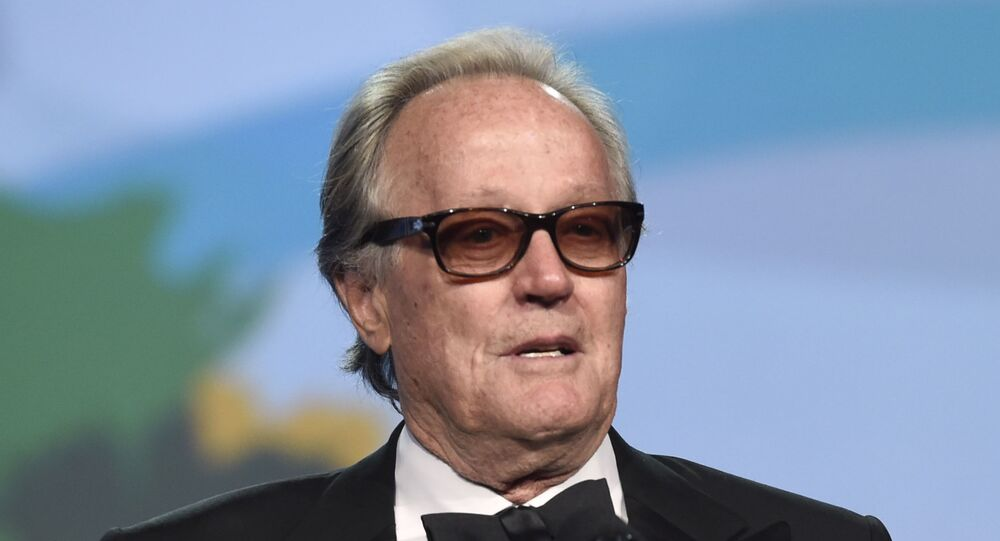 FILE - In this Jan. 2, 2018 file photo, Peter Fonda presents the Desert Palm achievement award at the 29th annual Palm Springs International Film Festival in Palm Springs, Calif.