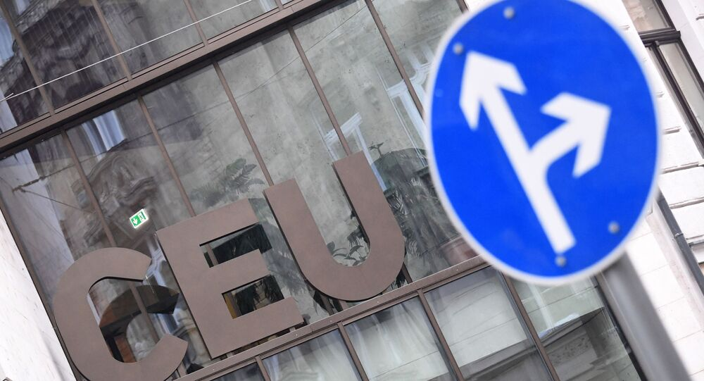 The logo of the Central European University (CEU) is pictured in Budapest on December 3, 2018. - Hungary's renowned CEU announced it had been forced to move its most prestigious studies to Vienna after a long and bitter legal battle with Prime Minister Viktor Orban's government