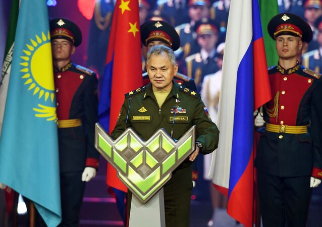 Sergei Shoigu takes part in the closing ceremony  of the 5th International Army Games 2019, Russia, Kubinka