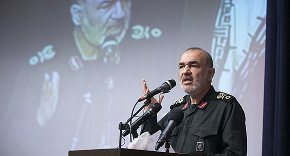 In this undated photo released by Sepahnews, the website of the Iranian Revolutionary Guard, Gen. Hossein Salami speaks in a meeting in Tehran, Iran