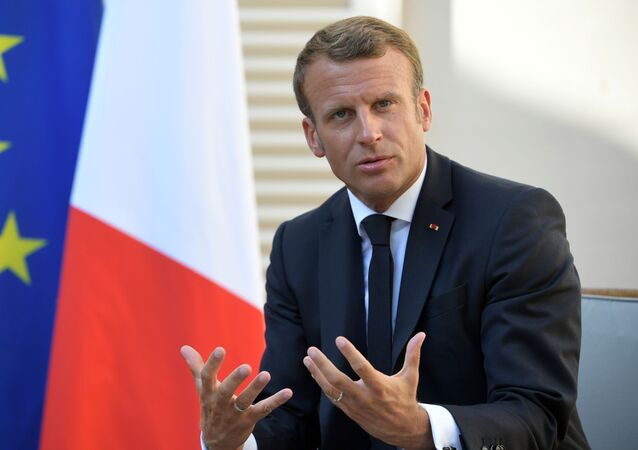 French President Emmanuel Macron at a meeting with Russian President Vladimir Putin at the residence of French President Fort Bregancon.