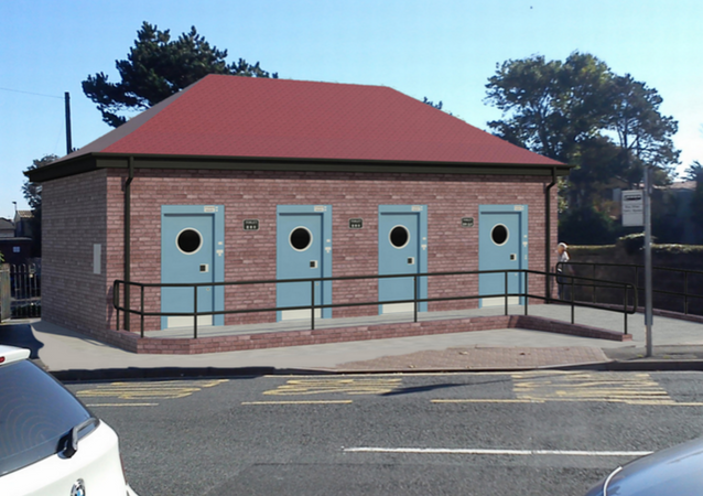 Model of the new restrooms proposed for Porthcawl, Wales (outside view).