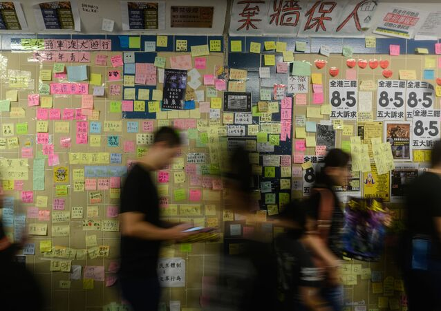 A 'Lennon Wall' is shown in a tunnel of Tseung Kwan O district during a march in Hong Kong on August 4, 2019. - Pro-democracy protesters held twin rallies in Hong Kong on August 4 as China delivered fresh warnings over the unrest battering the city, a day after police fired tear gas at demonstrators in a popular tourist hub.