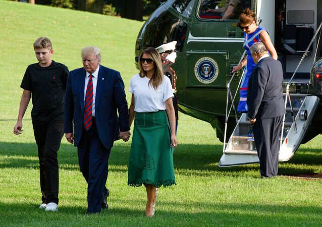 US President Donald Trump, First Lady Melania Trump, their son Barron