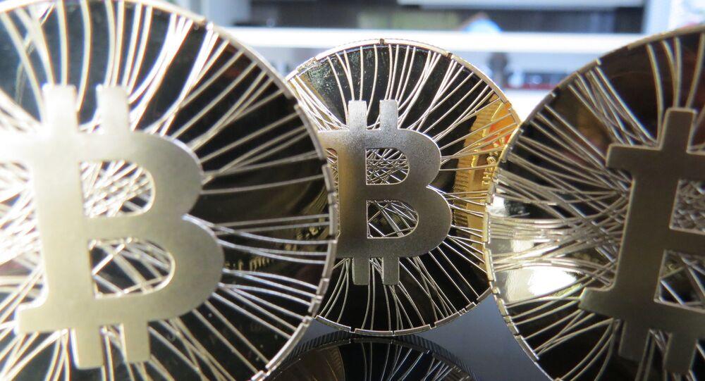 An artist's concept of gold Bitcoin coins