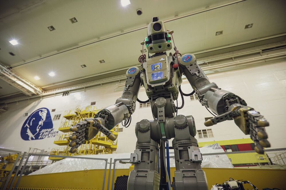 Robot Skybot F-850 is being prepared for a space launch at the Baikonur Cosmodrome