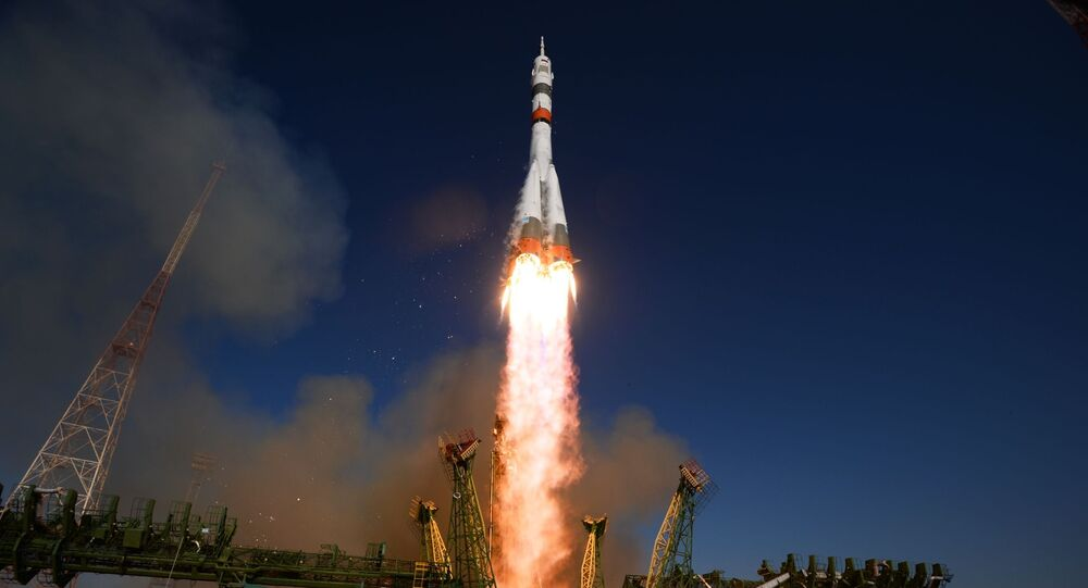Soyuz-2.1a carrier rocket is being launched into space with the piloted Soyuz MS-14 vehicle from the Baikonur Cosmodrome.
