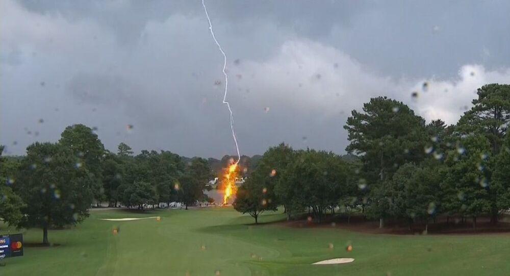 A lightning bolt struck a PGA Tour Championship golf course