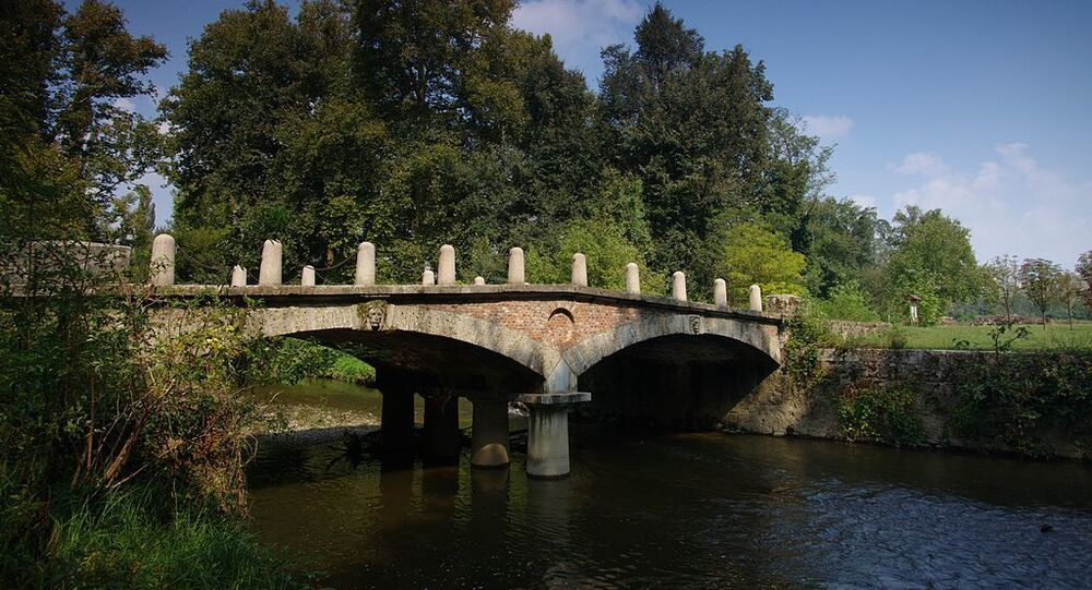 A bridge over the river Lambro in Monza Park, Monza, Italy