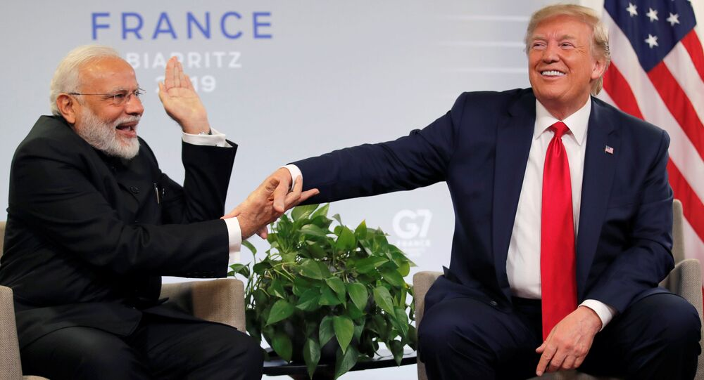 US President Donald Trump meets Indian Prime Minister Narendra Modi for bilateral talks during the G7 summit in Biarritz, France, 26 August 2019