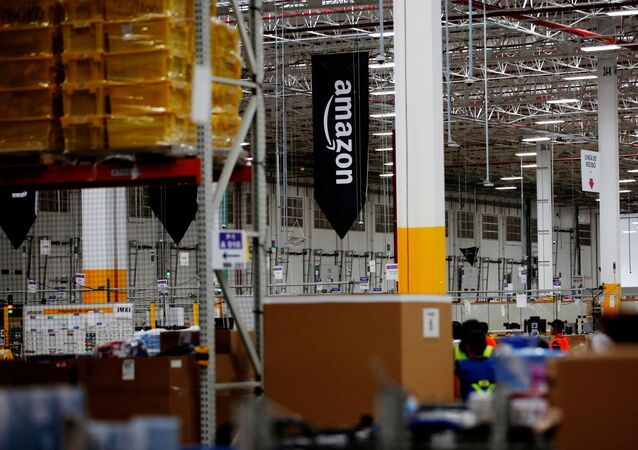 The logo of Amazon is seen at their new Amazon warehouse during its opening announcement on the outskirts of Mexico City, Mexico July 30, 2019