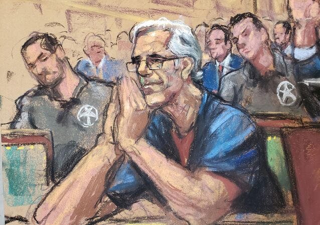Jeffrey Epstein looks on during a a bail hearing in U.S. financier Jeffrey Epstein's sex trafficking case, in this court sketch in New York, U.S., July 15, 2019