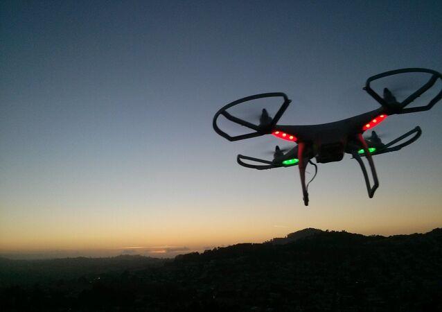 Drone landing at sunset