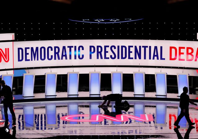 Crews prepare the stage for the second Democratic 2020 U.S. presidential candidates debate in Detroit