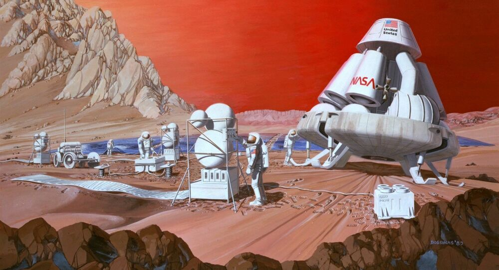 An artist's rendering of astronauts on Mars
