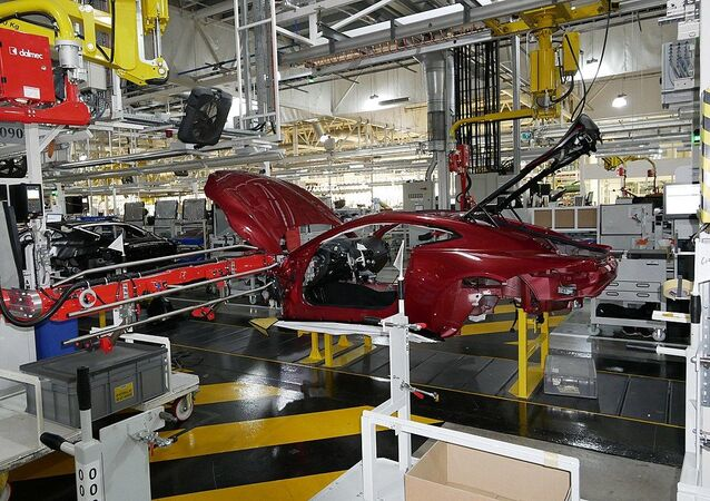 Assembly line at Aston Martin's HQ in Gaydon, UK