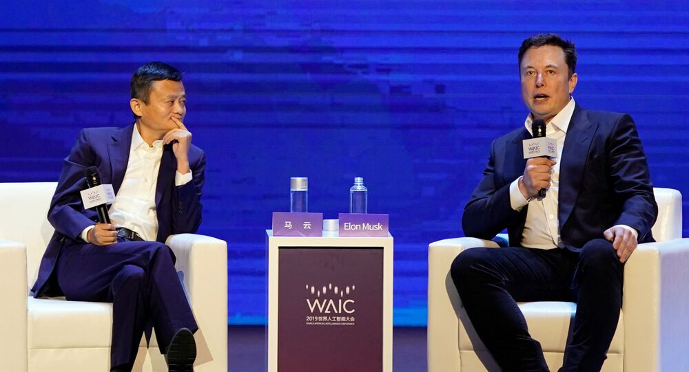 Tesla Inc CEO Elon Musk and Alibaba Group Holding Ltd Executive Chairman Jack Ma attend the World Artificial Intelligence Conference (WAIC) in Shanghai, China, August 29, 2019