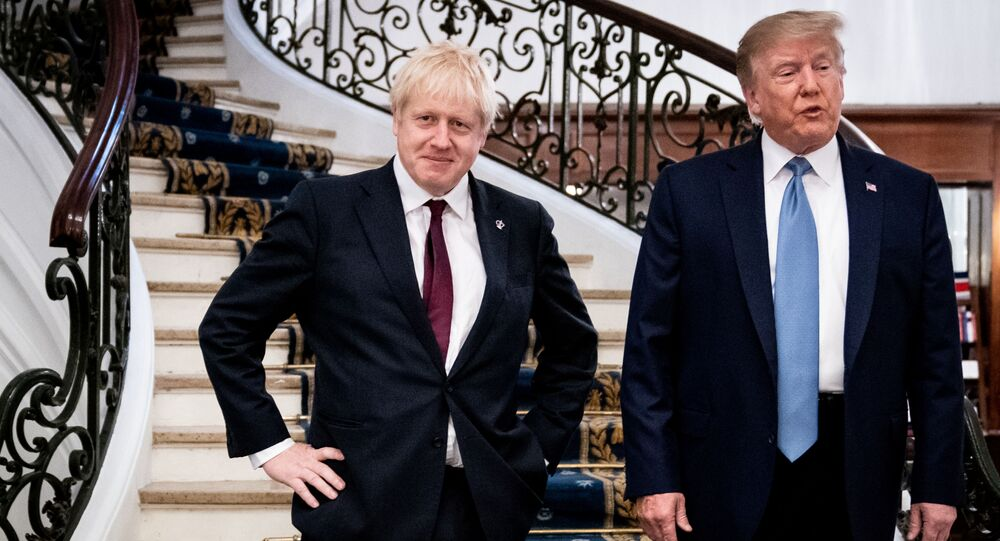U.S. President Donald Trump and Britain's Prime Minister Boris Johnson arrive for a bilateral meeting during the G7 summit in Biarritz, France, August 25, 2019