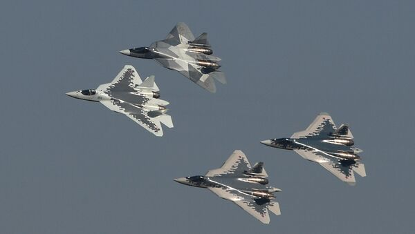 5th generation Sukhoi Su-57 fighter jets perform at the MAKS-2019 international aviation and space show in Zhukovsky, outside Moscow, Russia - Sputnik International