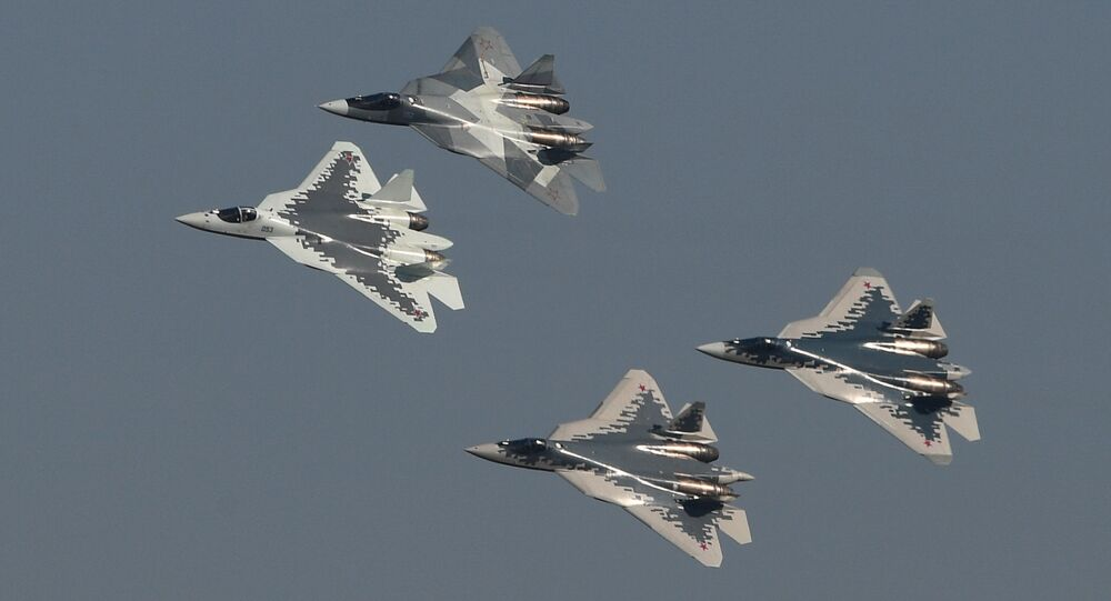5th generation Sukhoi Su-57 fighter jets perform at the MAKS-2019 international aviation and space show in Zhukovsky, outside Moscow, Russia