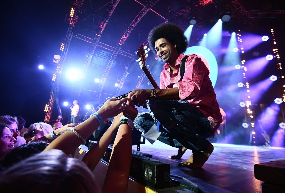 American musician Selwyn Birchwood during a performance at the 17th international Koktebel Jazz Party Festival in Crimea.