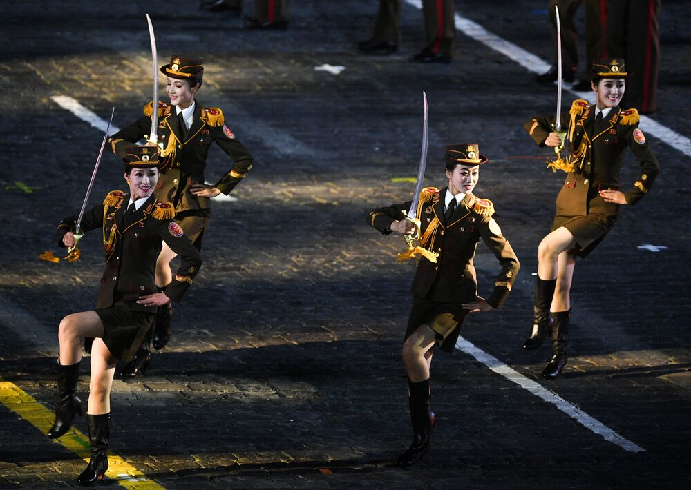 Members of the North Korean military band during an opening ceremony for the annual Spasskaya Tower Military Music Festival on Red Square in Moscow.