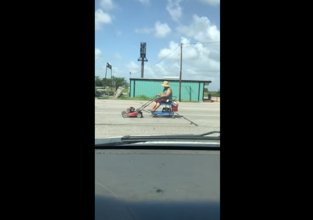 Texas Resident Uses Electric Lawn Mower to Get Around Town